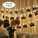 LED Fotolichterkette Photoclips Warmweiß Lichterkette Tomshine Clip Bilder Lichterkette 40 LEDs/Batteriebetrieben für Party, Weihnachten, Dekoration,Hochzeit