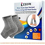 IZZORI Silicone Gel Heel Socks for Dry Hard Cracked Heel Repair Pad, Swelling & Pain Relief, Cushion Support, Foot Care, Ankle Protection, Plantar Fasciitis for Men and Women (Free Size, Grey, 1 Pair)