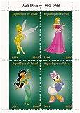 Walt Disney Princesse Disney timbres de collection avec Jasmin, la fée Clochette et Cindarella / 2014 / Tchad / 1000F
