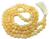 Givereldi Honig-Calcit Mala Perlen Halskette Armband 108 Perlen 6 mm breit - mit Knoten dazwischen plus 1...