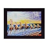 #5: eCraftIndia Running Lucky Horses Design Satin Matt Texture Framed UV Art Painting