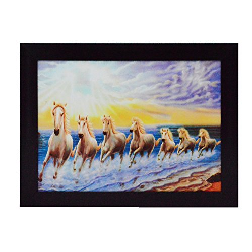 eCraftIndia 'Running Lucky Horses Design' Satin Matt Texture Framed UV Art Painting (Synthetic Wood, 34.3 cm x 1.3 cm x 26.7 cm)