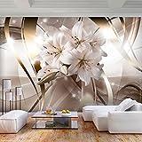 decomonkey | Fototapete Blumen Lilie 400x280 cm XL | Tapete | Wandbild | Wandbild | Bild | Fototapeten | Tapeten | Wandtapete | Wanddeko | Wandtapete | Abstrakt beige | FOC0027a84XL