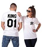 King Queen Paare T-Shirts Baumwolle Schwarz weiß Lustige Partner Look Tees für Liebhaber – König Königin Pärchen Shirt 2 Stücke (Weiß + Weiß, King-M+Queen-M)