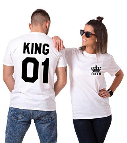 hirts Baumwolle schwarz weiß Lustige Partner Look Tees für Liebhaber - König Königin Pärchen Shirt 2 Stücke (Weiß + Weiß, King-M+Queen-S) ()