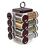#9: JVS Plastic Spice Rack, 100 Ml, 16-Piece, Brown