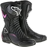 Alpinestars 22231171032-38 Chaussures Moto, Noir/Blanc/Fuchsia, 38