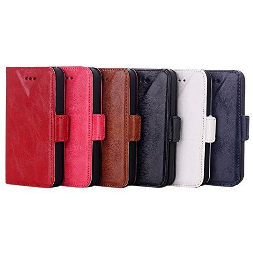 Wkae Case Cover Öl Ledertasche mit Karten-Slot &Halter für iPhone 5C ( Color : Red ) White