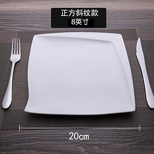 MLGG La Plaque Carrée Plaque Blanche Pure De Vaisselle en Céramique, 8 Pouce, B