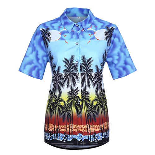 kolila Hawaii Shirts Oberteile Holidays Damen Sommer Lässig Revers Button-down Tops Kurzarm Tunika Bluse Pullover - Original Radtrikot