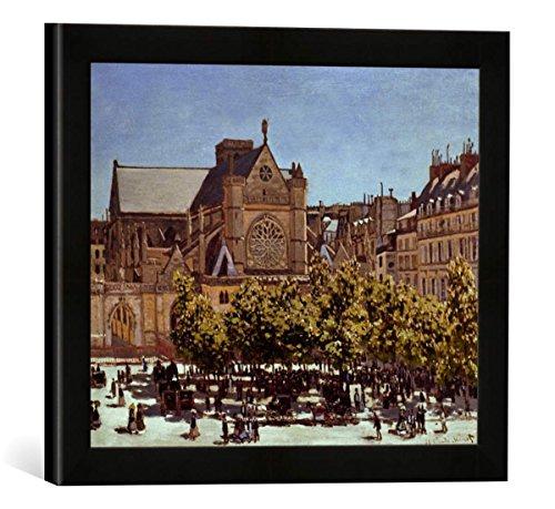 """Gerahmtes Bild von Claude Monet """"St.Germain l'Auxerrois"""", Kunstdruck im hochwertigen handgefertigten Bilder-Rahmen, 40x30 cm, Schwarz matt"""