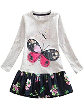 Yiiquan Vestido Cómodo Mariposa Dibujos Cuello Redondo Manga Larga Casual Casual Niñas