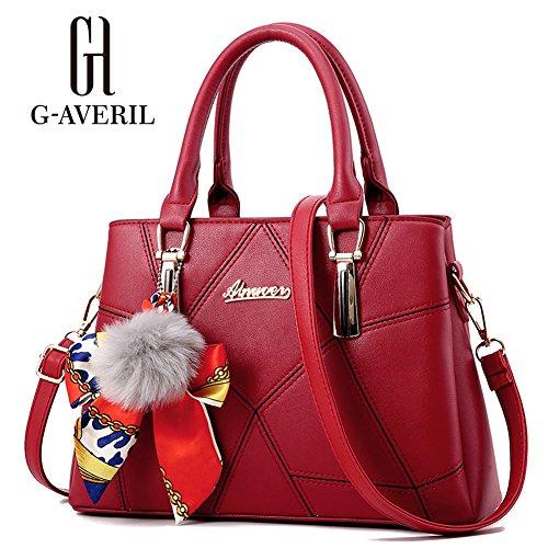 (G-AVERIL) Borsa a mano Donna Borsa Shopping PU pelle rosso