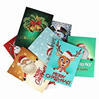 Meccion 8 Pcs Christmas Cards 5D DIY Diamond Painting Rhinestone Greeting Holiday Cards Kits Include Christmas Bells, Reindeer, Snowman, Santa Claus Cards