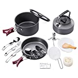 Camping Cookware Mess Kit 18Pcs Leisure Backpacking Gear Portable Outdoor Cooking Equipment Hiking Picnic Supplies Set