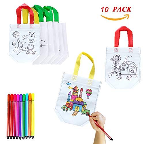 XUNKE DIY Sac de Peinture des Enfants, 10 Sac Non tissé pour l'auto-Peinture, Sacs de Graffiti de...