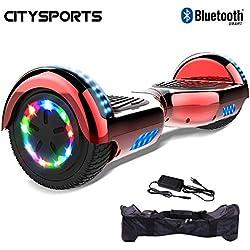 CITYSPORTS Hoverboard 6.5 Pulgadas, Self Balance Scooter Patinete Eléctrico, Ruedas de Led Luces, Bluetooth, Motor 700W