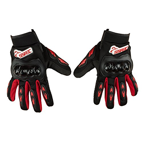 Autofy SSPEC Universal Full Fingers Leather Riding Gloves/Hand Gloves (Black, Red/M)
