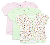 #9: FS Mini Klub Baby Girls' Tees - Pack of 3 (83087E GREEN COMBO9-12M, Green and Pink, 9 -12 Months)