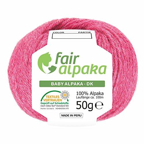 100% Alpakawolle 300g (6 x 50g) - Baby Alpaka Wolle (weich - kratzfrei) zum Stricken & Häkeln - 50+ Farben & 6 Garnstärken - Himbeersahne Heather (Rosa / Pink)