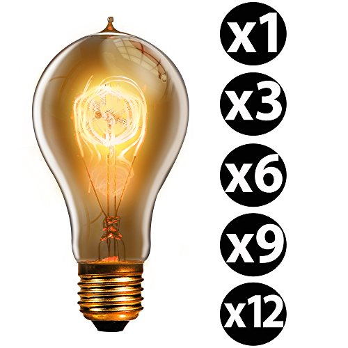 trellonics langlebiges Premium Edison Glühbirne Lampen 40W Watt E27Schraube Quad Loop-Klassisch geformte A21QL dimmbar 40W Vintage, Retro, rustikal, industrieller lighting-1369& 12Packungen, E27 40.00 wattsW 120.00 voltsV (Return T-fitting)