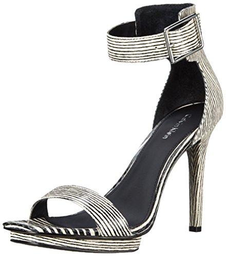 Calvin Klein Vable Leder Sandale Black/White