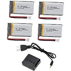 Creation® 4pcs 3.7V 1200mAh Lipo Baterías y 4 en 1 cargador para Syma X5SW X5SC