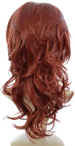Hair By MissTresses, hitzefest Hälfte Perücke Extensions Haarteil mit backcombed Krone für mehr Volumen, Henna Rot - Crown Hair Extensions