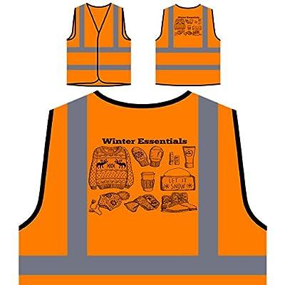 GLÜCKLICHE FROHE WEIHNACHTEN WINTER ESSENTIALS LUSTIGE NEUHEIT NEU Personalisierte High Visibility Orange Sicherheitsjacke Weste l87vo