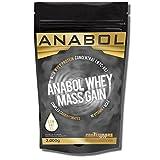 ANABOL WHEY MASS GAIN Vanille 2KG/ 2000g für HARDGAINER Muskelaufbau Kohlenhydrat-Mix aus Whey-Protein (WPC-80) und CARBS mit extra Aminosäuren BCAA & Glutamin