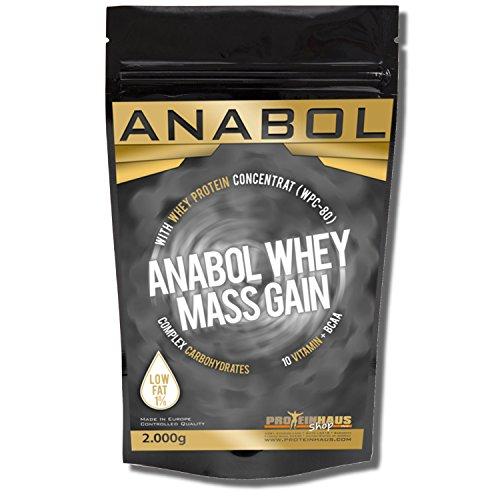 ANABOL WHEY MASS GAIN Vanillia | Vanille 2KG | 2000g für HARDGAINER Muskelaufbau | Kohlenhydrat-Mix aus Whey-Protein (WPC-80) und CARBS mit extra Aminosäuren BCAA | - Weight Bars Protein Gainer