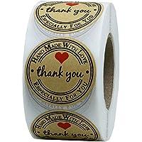 Hybsk - Rollo de 500 etiquetas adhesivas redondas de papel kraft de 3,81 cm, hechas a mano con amor y corazón rojo