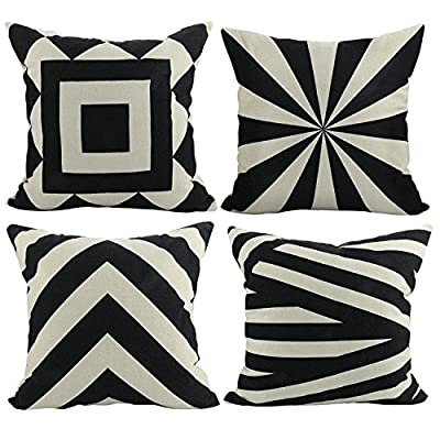 Luxbon Set of 4 Geometric Pattern Pillo Baby Black and Beige Linen 'Waist Throw Pillow Case Sofa Cushion Cover Case Sofa Chair Car House Decorative 45 x 45 cm - low-cost UK light store.