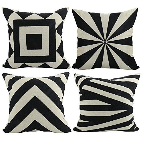 Luxbon Set di 4geometrica Pillo Baby Nero e Beige Lino 'vita Throw Pillow Case Cover divano cuscino divano decorativo per auto, casa, 45x 45cm