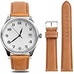CHIMAERA Genuine Calf Leather Watch Strap Unisex Stitched Edging 18mm 19mm 20mm 21mm 22mm Replacement Band Super soft Classic Pin Buckle (4 Color Option)