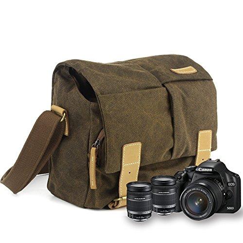 Galleria fotografica BESTEK Borsa a tracolla di tela impermeabile per fotocamera DSLR + accessori, scomparti regolabili e protezione antiurto, 27x16x25cm, Caffè BTDB10-IT