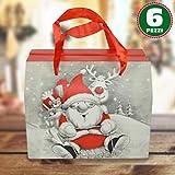 Bakaji Set 6 Pezzi Scatole Da Regalo Con Stampa Babbo Natale Moderno Manici Rossi 13,5x11,5xX16,5cm Decorazioni Natalizie