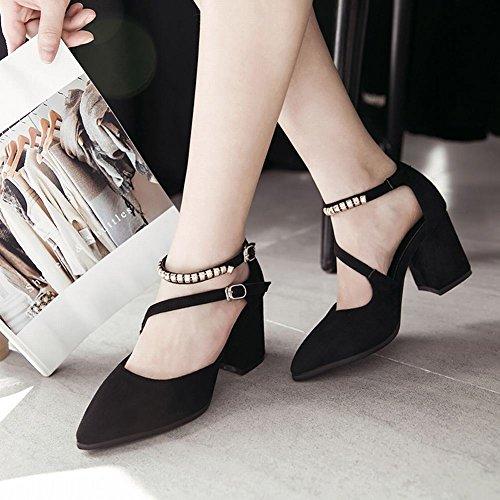 Mee Shoes Damen chunky heels ankle strap Schnalle Sandalen Schwarz
