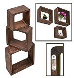 ts-ideen 3er Set Lounge Cube Regal Holz Landhaus Stil Wandregal Hängeregal Massivholz in dunkelbraun