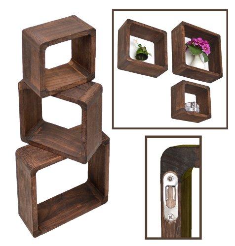 Ts-ideen - set 3 mensole in legno massiccio, stile retrò naturale, colore: marrone scuro