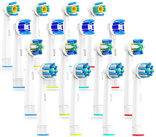 Caretist, testine per spazzolino elettrico oral b, multipack 4 x 4, 3dwhite, precision clean, pulizia profonda, crossaction, 16 pezzi, pienamente compatibile con braun oral b vitality, pro health, trizone, advance power, genius 8900, 9000, professional care, triumph e deep sweep
