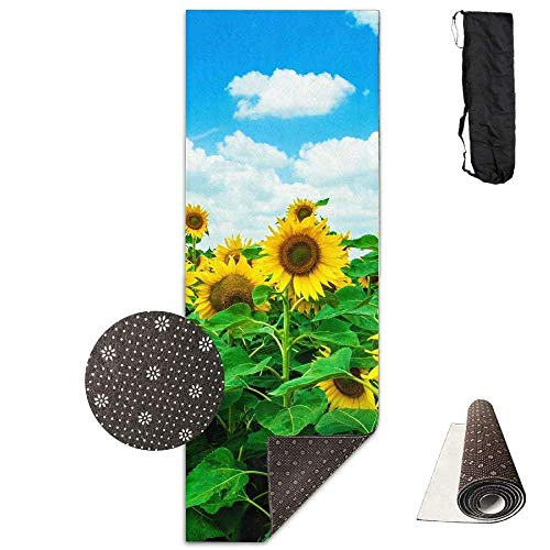 Deglogseccce Yogamatte/Übungsmatte, Suitable as a Yoga, Pilates and Camping Mat Sunflower Field Deluxe Yoga Mat Aerobic Exercise Pilates 180cm x 61cm -