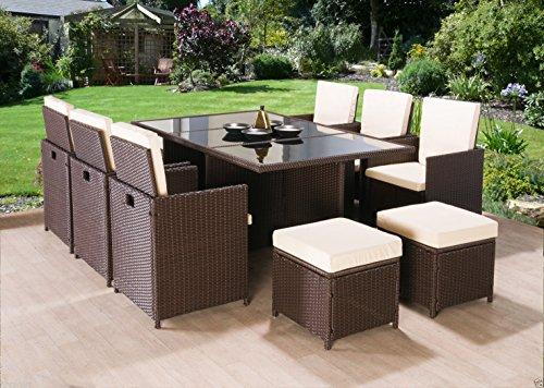 Gartenmöbel rattan braun  Luxus 10 Sitzer Rattan Gartenmöbel Cube Set Esstisch Stuhl ...