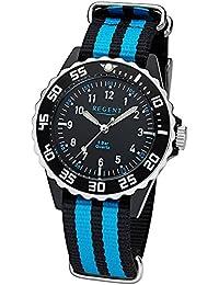Regent Kinder Jugend-Armbanduhr Elegant Analog Textil Stoff-Armband schwarz blau Quarz-Uhr Ziffernblatt schwarz URF1126