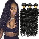 Silkylong 3 fasci riccio profondo capelli periviani estensioni riccio capelli umani colore naturale 300g 24 26 28 Inch
