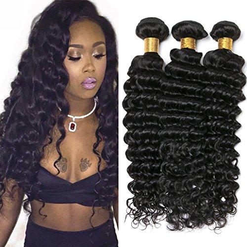 Silkylong deep wave hair brazilian 3 bundles weave virgin hair extensions human hair black brown 16 18 20 inch