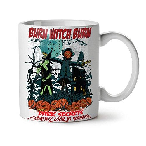 Wellcoda Brennen Hexe Sexy Halloween Keramiktasse, Dunkel - 11 oz Tasse - Großer, Easy-Grip-Griff, Zwei-seitiger Druck, Ideal für Kaffee- und - Moderne Hexen Kostüm