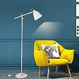 Stehlampe ,Glückstein Stehleuchte ( Industrie Design, Kreativ) aus Holz und Metall u.a. für Wohnzimmer,Schlafzimmer & Esszimmer (1 flammig, E27)   Stehleuchte, Wohnzimmerlampe[Energieklasse A++ bis E] (weiß)