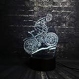 Ride bike Sport uomo 3D LED Night light Decorazione USB lamp Camera da letto Sleep Light 7 Cambia colore RC Baby Decor regalo di Natale giocattolo