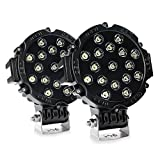 #6: Andride 2Pcs 51W 7 Spot Round Fog Led Lights Off Road Driving Roof For Suv Boat Jeep Lamp All Bikes And Cars (Black) (2)